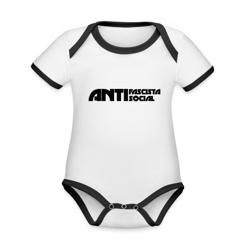 Antifaso_svart - Ekologisk kontrastfärgad kortärmad babybody