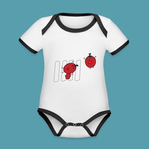 tomaatit - Vauvan kontrastivärinen, lyhythihainen luomu-body
