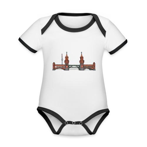 Oberbaumbrücke w Berlinie c - Ekologiczne body niemowlęce z krótkim rękawem i kontrastowymi lamówkami
