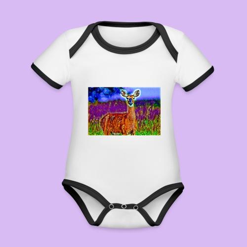 Cerbiatto con magici effetti - Body da neonato a manica corta, ecologico e in contrasto cromatico