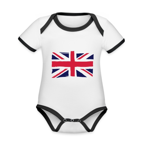 vlag engeland - Baby contrasterend bio-rompertje met korte mouwen