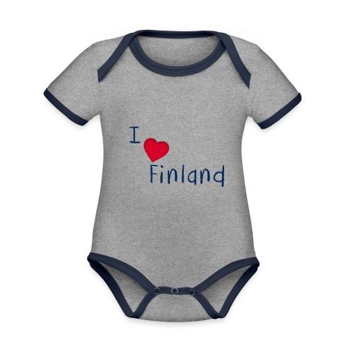 I Love Finland - Vauvan kontrastivärinen, lyhythihainen luomu-body
