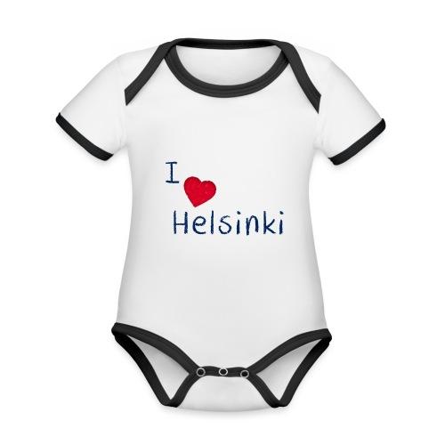 I Love Helsinki - Vauvan kontrastivärinen, lyhythihainen luomu-body