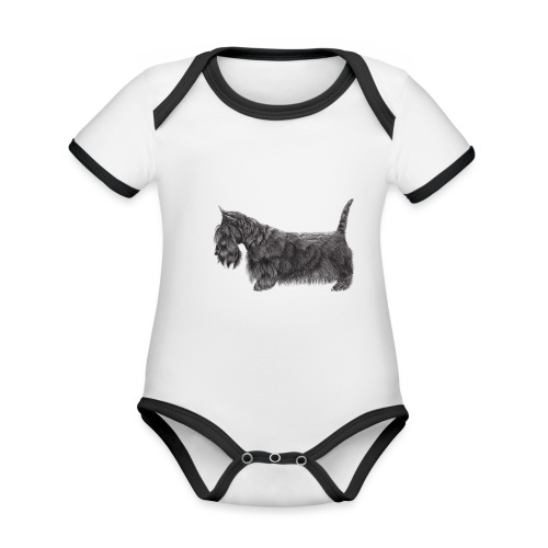 skotsk terrier ub - Kortærmet økologisk babybody i kontrastfarver