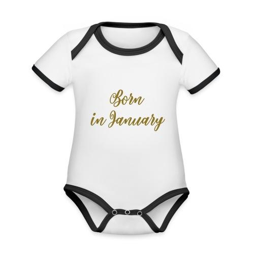 Born in - Baby contrasterend bio-rompertje met korte mouwen