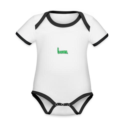 lucas - Baby contrasterend bio-rompertje met korte mouwen
