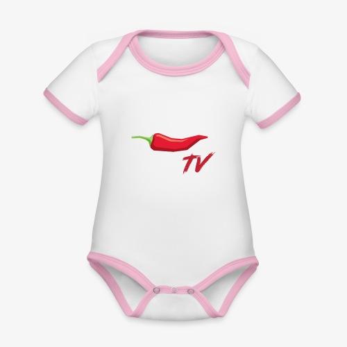 PeperTV - Baby contrasterend bio-rompertje met korte mouwen