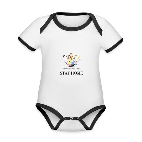 stay home03 - Baby Bio-Kurzarm-Kontrastbody