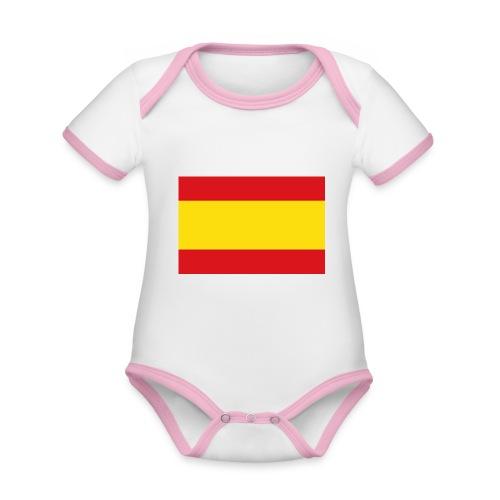 vlag van spanje - Baby contrasterend bio-rompertje met korte mouwen