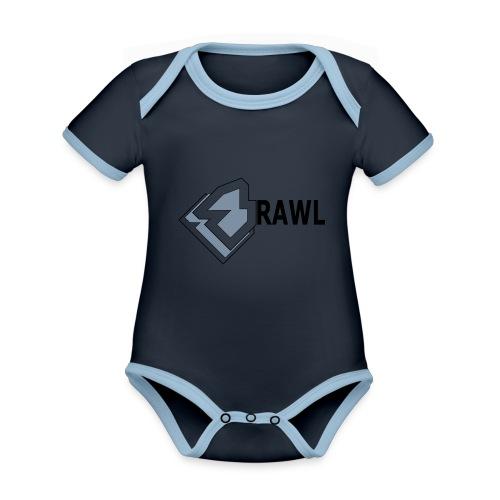 PANDA ONLY LOGO - Baby contrasterend bio-rompertje met korte mouwen