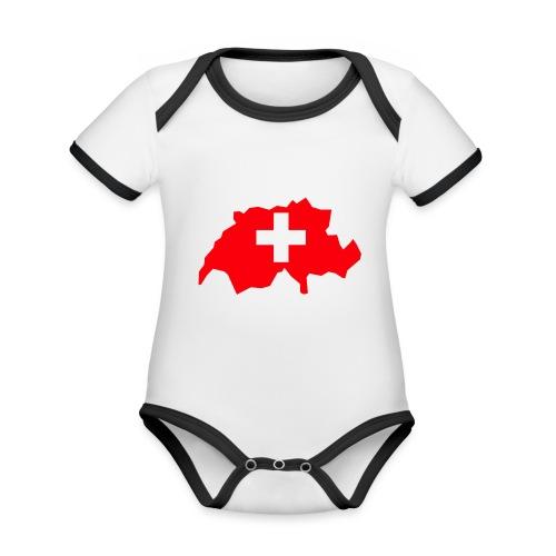 Switzerland - Baby contrasterend bio-rompertje met korte mouwen