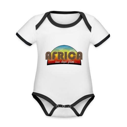 Africa_love_hope_and_faith2 - Body da neonato a manica corta, ecologico e in contrasto cromatico