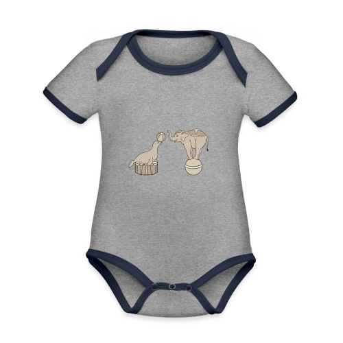 Circus elephant and seal - Organic Baby Contrasting Bodysuit