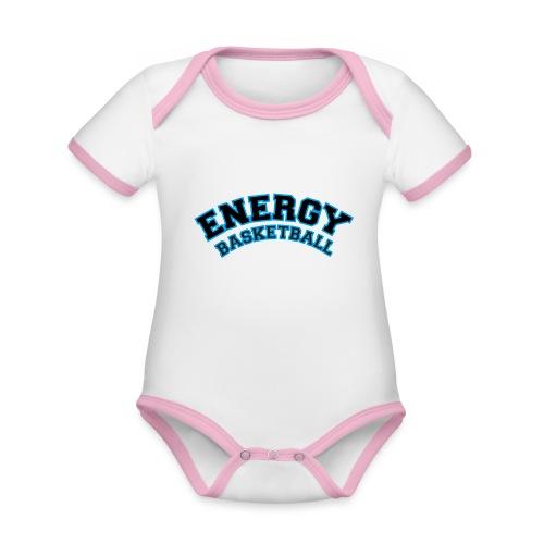 baby energy basketball logo nero - Body da neonato a manica corta, ecologico e in contrasto cromatico