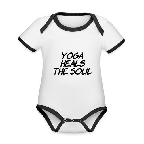 yoga - Baby contrasterend bio-rompertje met korte mouwen