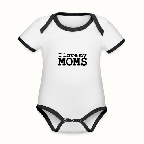 I love my moms - Baby contrasterend bio-rompertje met korte mouwen