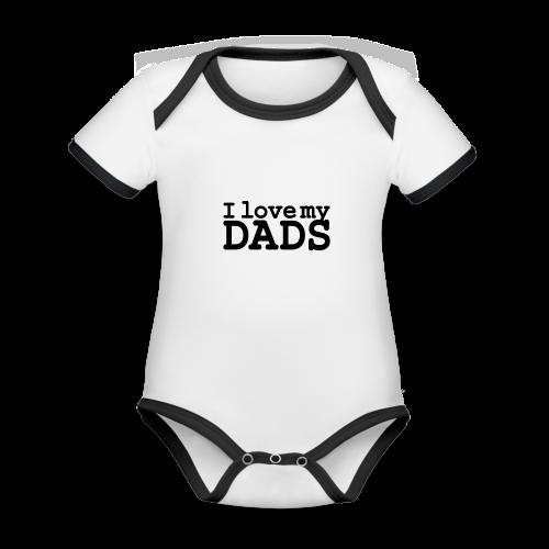I love my dads - Baby contrasterend bio-rompertje met korte mouwen