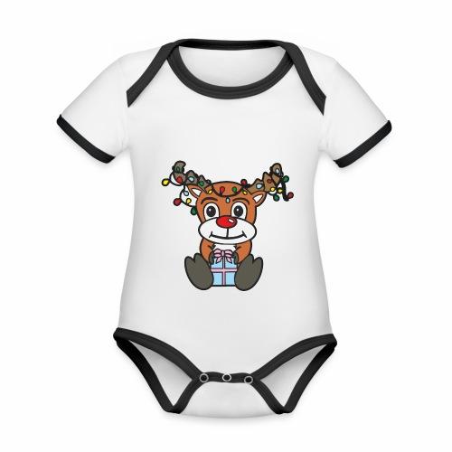 Rentier mit Lichterkette - Baby Bio-Kurzarm-Kontrastbody