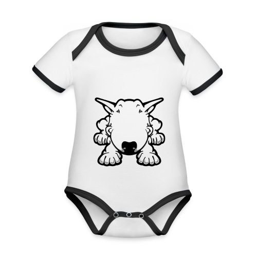 Bull Terrier Play - Organic Baby Contrasting Bodysuit