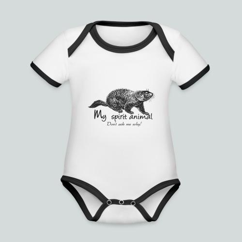 La marmotte est mon animal totem - Body Bébé bio contrasté manches courtes