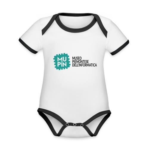 Logo Mupin con scritta - Body da neonato a manica corta, ecologico e in contrasto cromatico