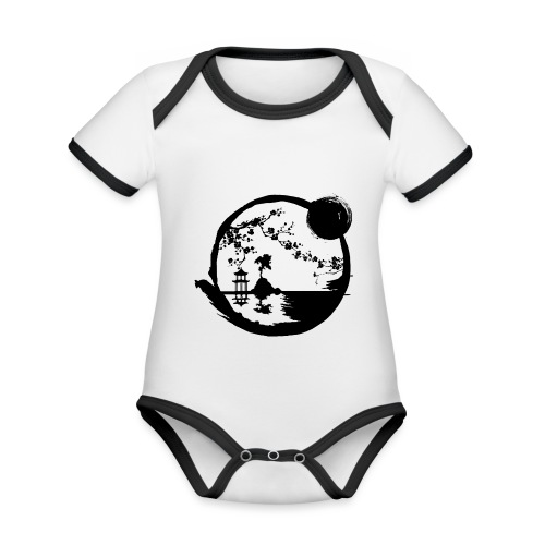 Cadre Japonais - Body Bébé bio contrasté manches courtes
