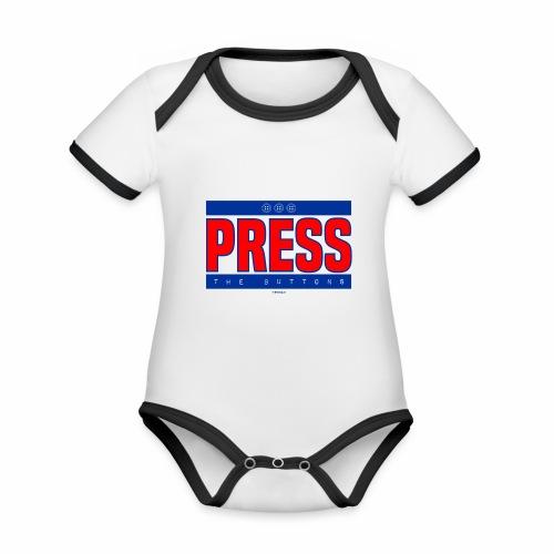 Press the buttons - Baby contrasterend bio-rompertje met korte mouwen