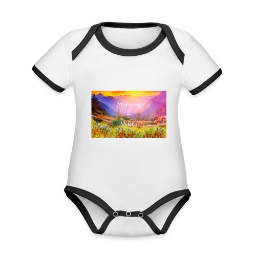 Morning vibes - Ekologisk kontrastfärgad kortärmad babybody