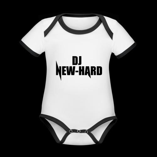 DJ NEW-HARD LOGO - Baby contrasterend bio-rompertje met korte mouwen