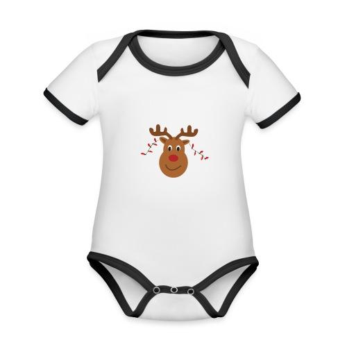 Christmas reindeer - Baby contrasterend bio-rompertje met korte mouwen