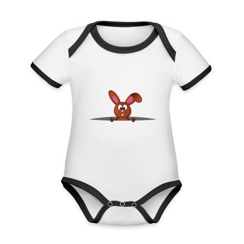 Cute bunny in the pocket - Body da neonato a manica corta, ecologico e in contrasto cromatico