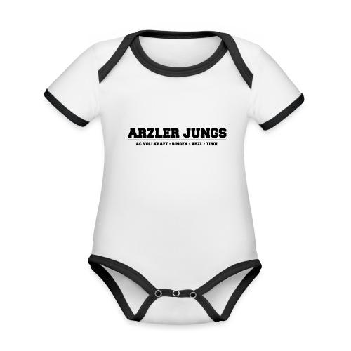 Arzler Jungs Schriftzug in Schwarz - Baby Bio-Kurzarm-Kontrastbody