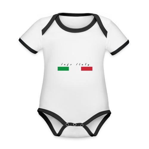 Info Italy Design - Body da neonato a manica corta, ecologico e in contrasto cromatico