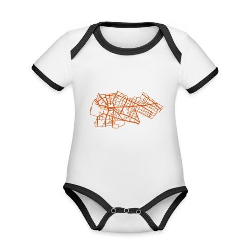 Berlino Kreuzberg - Body da neonato a manica corta, ecologico e in contrasto cromatico