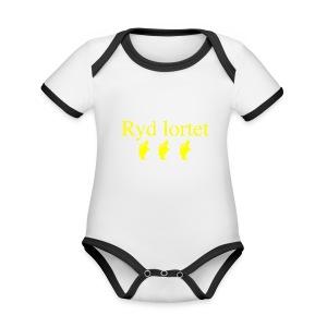 Ryd lortet - Børnekollektion - Kortærmet ækologisk babybody i kontrastfarver