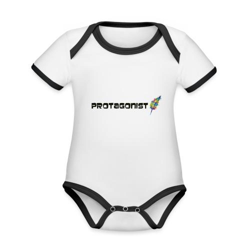 protagonist feder black - Baby Bio-Kurzarm-Kontrastbody