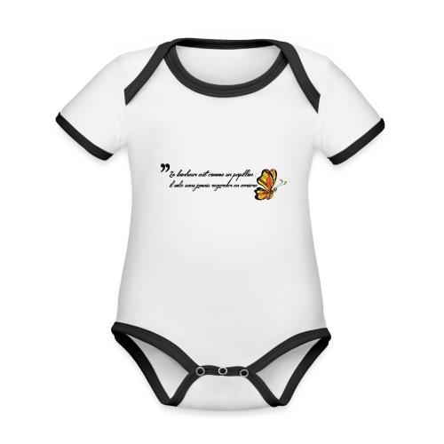 Papillon de bonheur - Body Bébé bio contrasté manches courtes