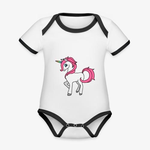 Süsses Einhorn mit rosa Mähne und Regenbogenhorn - Baby Bio-Kurzarm-Kontrastbody