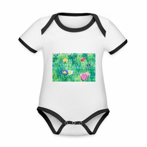 Blumenwiese - Baby Bio-Kurzarm-Kontrastbody