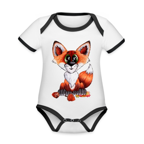 llwynogyn - a little red fox - Vauvan kontrastivärinen, lyhythihainen luomu-body