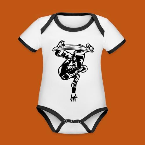 Skater / Skateboarder 03_schwarz weiß - Baby Bio-Kurzarm-Kontrastbody