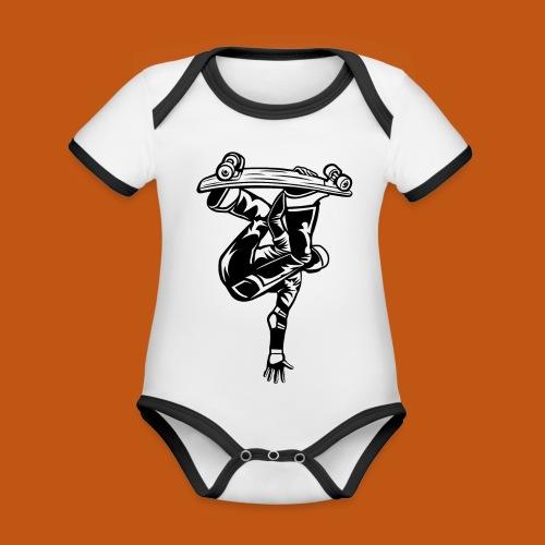 Skater / Skateboarder 03_schwarz - Baby Bio-Kurzarm-Kontrastbody
