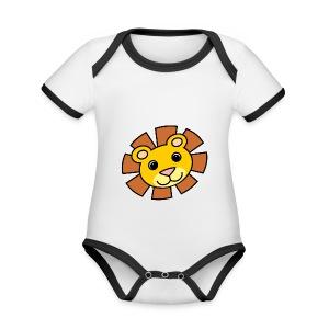 funimals_lejon_f--rg_-2- - Ekologisk kontrastfärgad kortärmad babybody