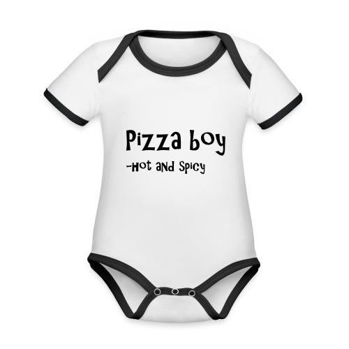 Pizza boy - Økologisk kortermet kontrast-babybody