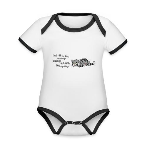 I Wish I Felt Like... (Horizontal) - Ekologiczne body niemowlęce z krótkim rękawem i kontrastowymi lamówkami