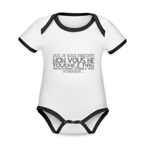 Tshirt-Femme-Enceinte-Chocolat-1 - Body Bébé bio contrasté manches courtes