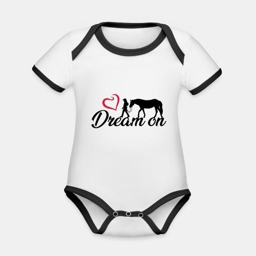 Dream on - Halte an Deinen Träumen fest - Baby Bio-Kurzarm-Kontrastbody