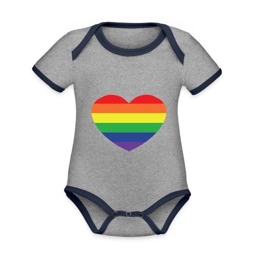 Rainbow heart - Organic Baby Contrasting Bodysuit