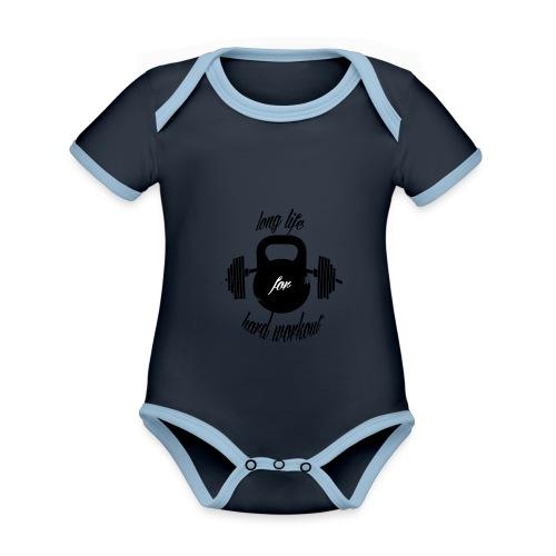 long life for wokrout - Body da neonato a manica corta, ecologico e in contrasto cromatico