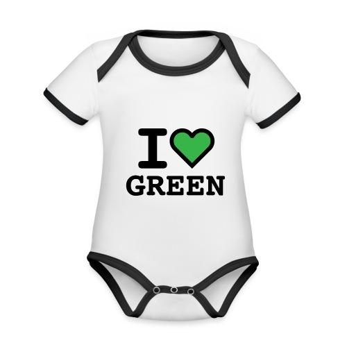 i-love-green-2.png - Body da neonato a manica corta, ecologico e in contrasto cromatico